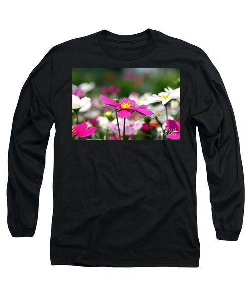 Long Sleeve T-Shirt featuring the photograph Cosmos Flowers by Denise Pohl