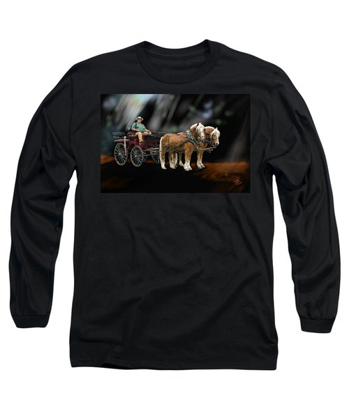 Country Road Horse And Wagon Long Sleeve T-Shirt