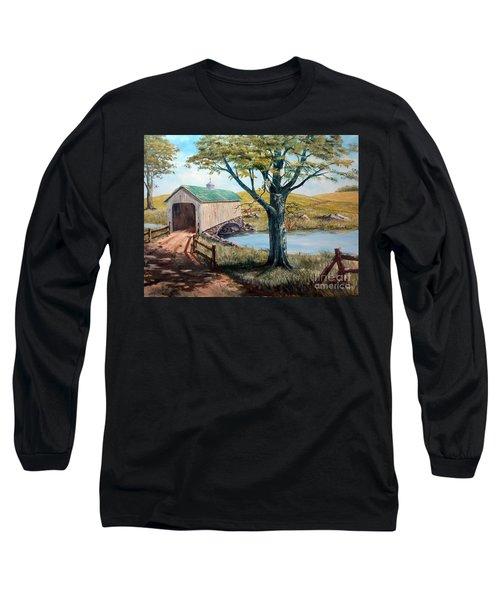 Covered Bridge, Americana, Folk Art Long Sleeve T-Shirt