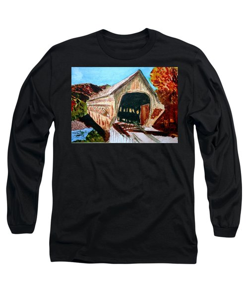 Long Sleeve T-Shirt featuring the painting Covered Bridge Woodstock Vt by Donna Walsh