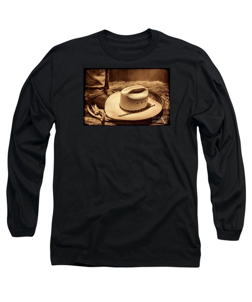 Cowboy Hat On Barn Floor Long Sleeve T-Shirt