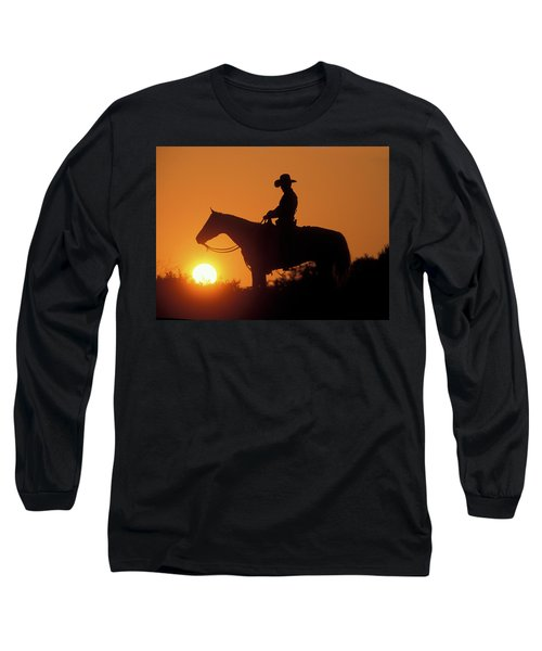Cowboy Sunset Silhouette Long Sleeve T-Shirt