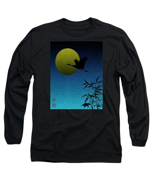 Crane And Yellow Moon Long Sleeve T-Shirt by Christina Lihani