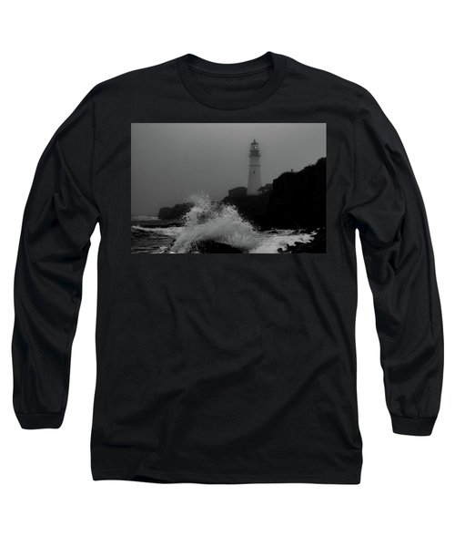 Crashing Waves On A Foggy Morning Long Sleeve T-Shirt