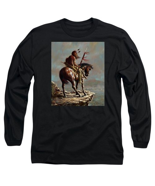 Long Sleeve T-Shirt featuring the painting Crazy Horse_digital Study by Harvie Brown