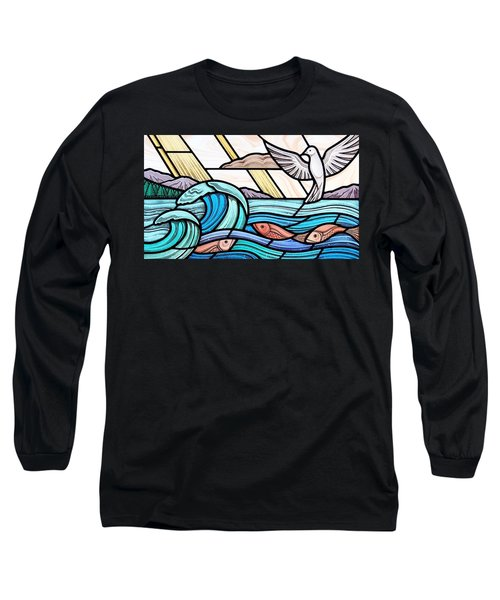 Creation Of The Sea And Sky Long Sleeve T-Shirt by Gilroy Stained Glass