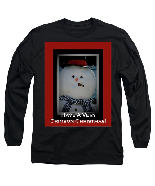 Crimson Christmas Snowman Long Sleeve T-Shirt