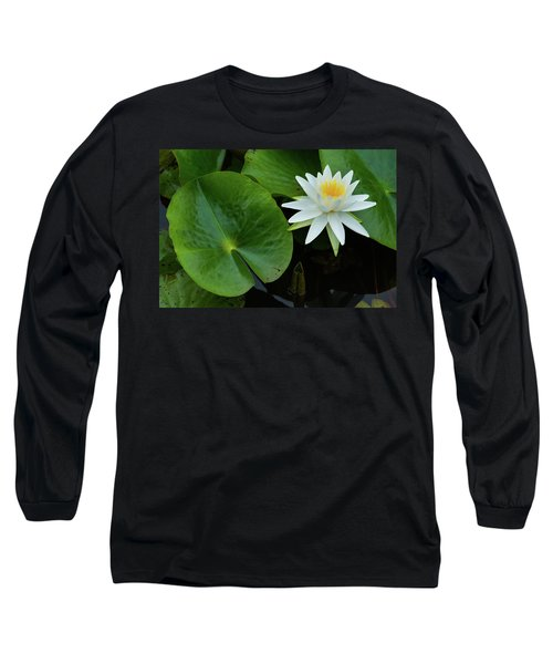 Crisp White And Yellow Lily Long Sleeve T-Shirt