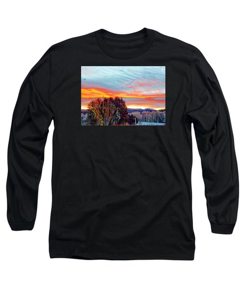 Long Sleeve T-Shirt featuring the photograph Crows Before Dawn El Valle New Mexico by Anastasia Savage Ealy