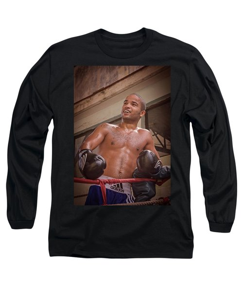Long Sleeve T-Shirt featuring the photograph Cuban Boxer Ready For Sparring by Joan Carroll