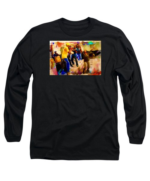 Long Sleeve T-Shirt featuring the painting Cuban Music by Ted Azriel