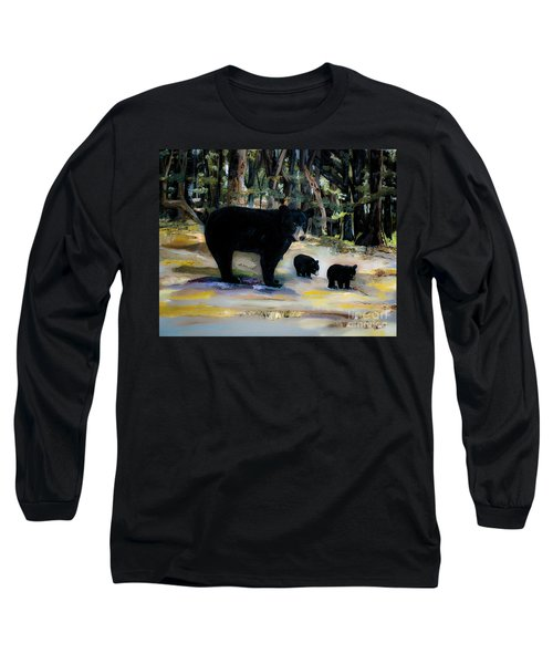 Cubs With Momma Bear - Dreamy Version - Black Bears Long Sleeve T-Shirt