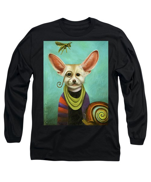 Long Sleeve T-Shirt featuring the painting Curious As A Fox by Leah Saulnier The Painting Maniac