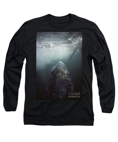 Curious Gray Whale And Tourist Long Sleeve T-Shirt