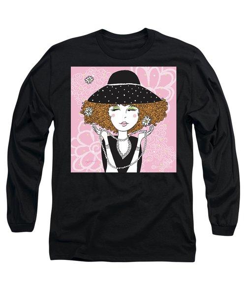 Curly Girl In Polka Dots Long Sleeve T-Shirt