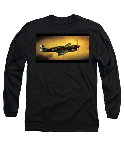 Long Sleeve T-Shirt featuring the digital art Curtiss P40 C Warhawk by John Wills