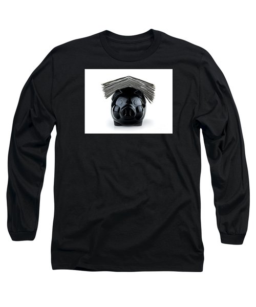 Cute Black Piggybank Long Sleeve T-Shirt