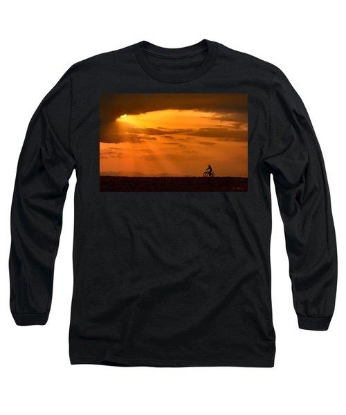 Cycling Into Sunrays Long Sleeve T-Shirt by Joe Bonita