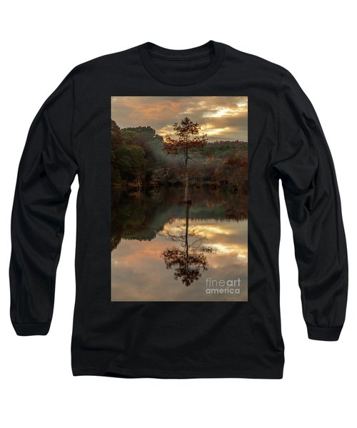 Cypress At Sunset Long Sleeve T-Shirt by Iris Greenwell