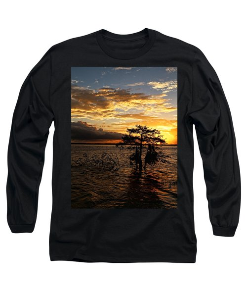 Cypress Sunset Long Sleeve T-Shirt by Judy Vincent