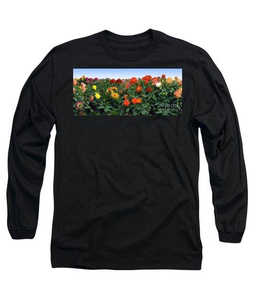 Dahlia Flower Panorama Long Sleeve T-Shirt