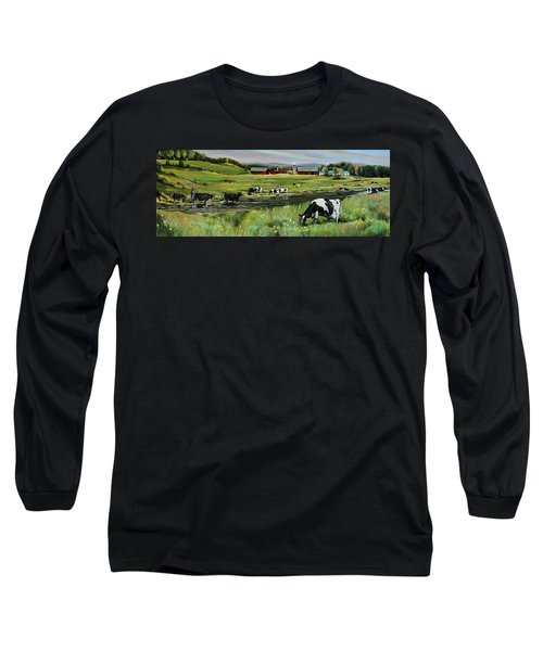 Long Sleeve T-Shirt featuring the painting Dairy Farm Dream by Nancy Griswold