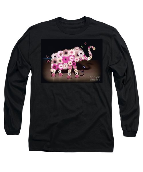 Daisy Elephant Long Sleeve T-Shirt by Donna Bentley