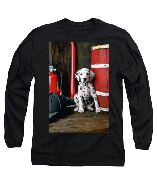 Dalmatian Puppy With Fireman's Helmet  Long Sleeve T-Shirt
