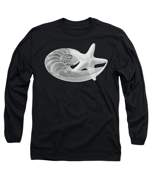 Long Sleeve T-Shirt featuring the photograph Dance With Me - Nautilus With Starfish In Black And White by Gill Billington