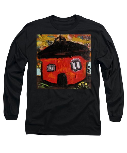 Long Sleeve T-Shirt featuring the painting Dandelions By Red Barn By Mcw by Mary Carol Williams