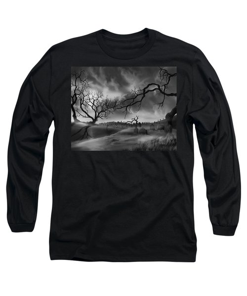 Long Sleeve T-Shirt featuring the painting Dark Cemetary by James Christopher Hill