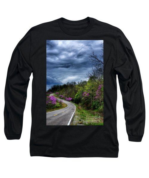 Long Sleeve T-Shirt featuring the photograph Dark Clouds Over Redbud Highway by Thomas R Fletcher