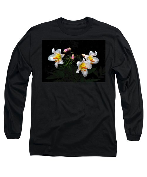 Long Sleeve T-Shirt featuring the photograph Dark Day Bright Lilies by Byron Varvarigos