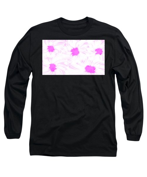 'dark Pink And White Flower Abstract' Long Sleeve T-Shirt