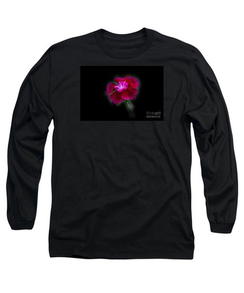 Dark Pink Dianthus Long Sleeve T-Shirt by Donna Brown