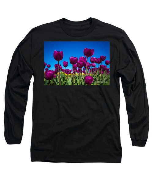 Dark Purple Tulips Long Sleeve T-Shirt