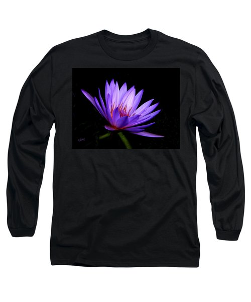 Dark Side Of The Purple Water Lily Long Sleeve T-Shirt