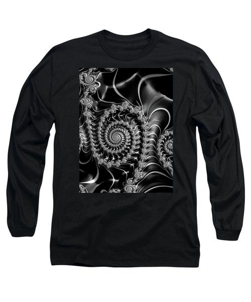 Long Sleeve T-Shirt featuring the digital art Dark Spirals - Fractal Art Black Gray White by Matthias Hauser