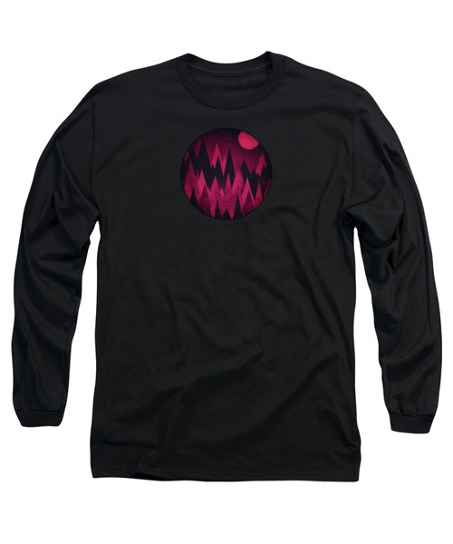 Dark Triangles - Peak Woods Abstract Grunge Mountains Design In Red Black Long Sleeve T-Shirt by Philipp Rietz