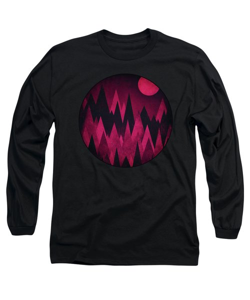 Dark Triangles - Peak Woods Abstract Grunge Mountains Design In Red Black Long Sleeve T-Shirt