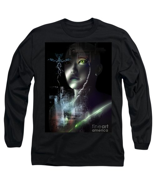 Long Sleeve T-Shirt featuring the digital art Dark Visions by Shadowlea Is