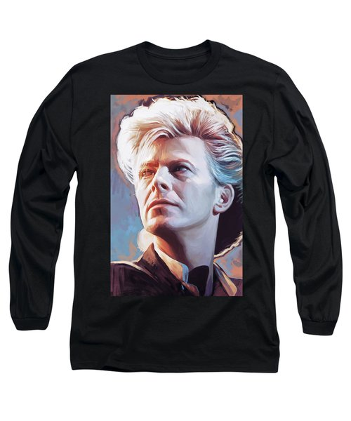 Long Sleeve T-Shirt featuring the painting David Bowie Artwork 2 by Sheraz A