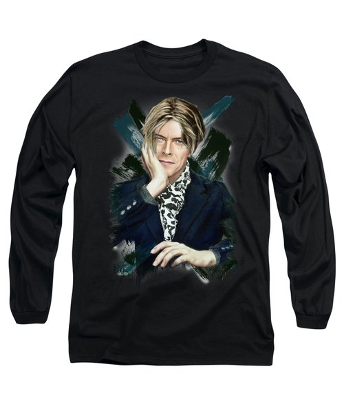 David Bowie Long Sleeve T-Shirt by Melanie D