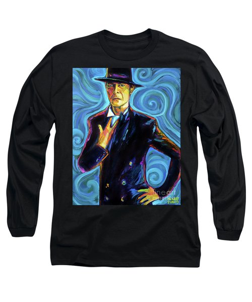 Long Sleeve T-Shirt featuring the painting David Bowie by Robert Phelps