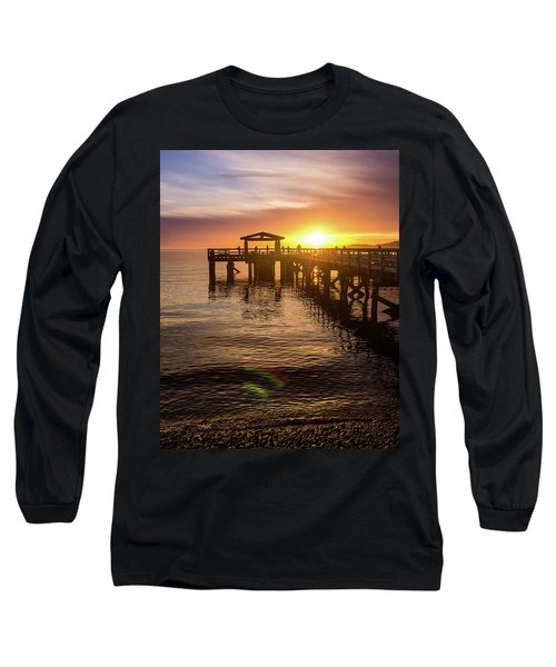 Davis Bay Pier Sunset 4 Long Sleeve T-Shirt
