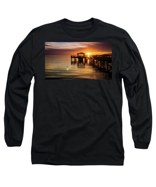Davis Bay Pier Sunset 5 Long Sleeve T-Shirt