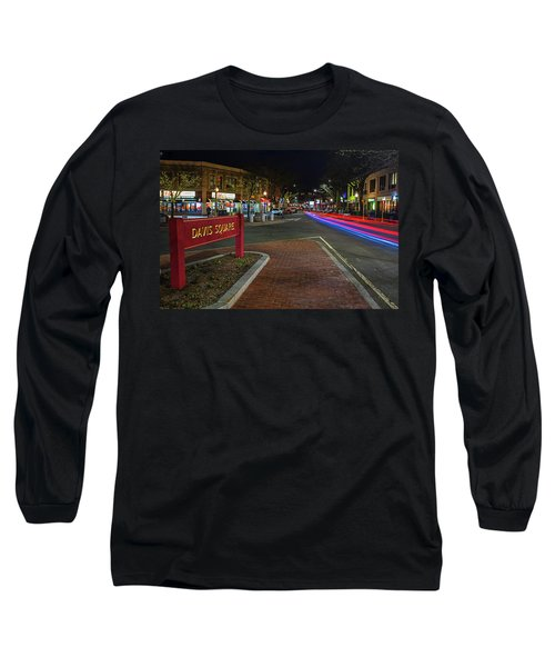 Davis Square Sign Somerville Ma Mikes Long Sleeve T-Shirt