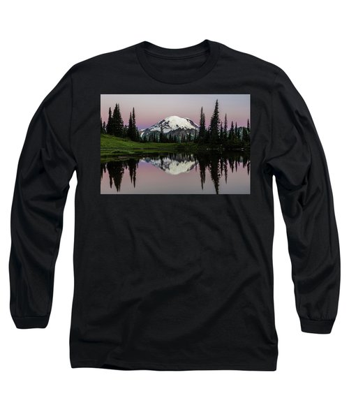 Long Sleeve T-Shirt featuring the photograph Mount Rainier Alpenglow At Tipsoo Lake by Pierre Leclerc Photography