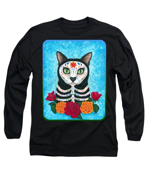 Day Of The Dead Cat - Sugar Skull Cat Long Sleeve T-Shirt by Carrie Hawks