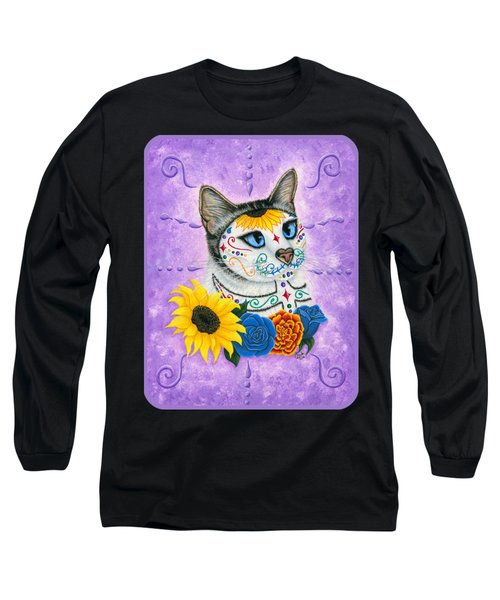 Day Of The Dead Cat Sunflowers - Sugar Skull Cat Long Sleeve T-Shirt by Carrie Hawks